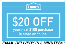 THREE (3X) $20 OFF $100 LOWES INSTANT DELIVERY-3COUPONS INSTORE/ONLINE 11/30/18
