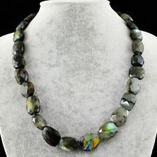 Labradorite faceted beads necklace with 18 kt (750/1000) gold, length 50 cm