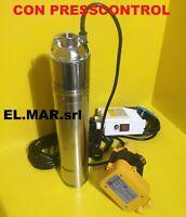 Pompa Sommersa HP 1,5 + PRESSCONTROL Elettropompa INOX autoclave 1100 W monofase