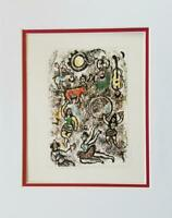 Marc Chagall The Tumblers Matted Offset Lithograph Limited Edition 1974