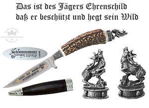 Trachtenmesser Hirschhorngriff Ätzung JAGD-SPRUCH + Kappe Hirsch