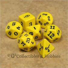 NEW 7pc Opaque Yellow Polyhedral Dice Set in Tube RPG Game D&D 7 Piece D20 +