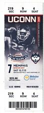 2013 UCONN HUSKIES VS MEMPHIS FOOTBALL TICKET STUB 11/12/13