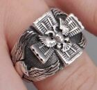 GERMAN 2 HEADED IMPERIAL EAGLE IRON CROSS 925 STERLING SOLID SILVER MENS RING