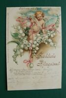 Kunst Litho AK Fröhliche Pfingsten 1900 Postkarte mit Maiblumenduft Engel Mai ++