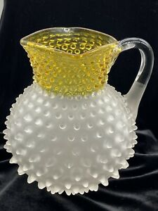 """Antique Hobbs Brockunier Frosted Yellow Lemonade Pitcher Perfect 8"""""""
