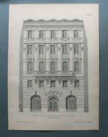 AR93) Architektur Wien 1893 Zinshaus Burggasse Fassade Haus Holzstich 28x39cm