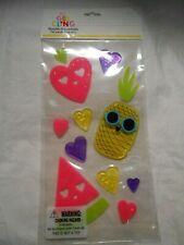 NEW Smiling Happy Pineapple Watermelon Strawberry Fruit Window Gel Clings 13 ct.