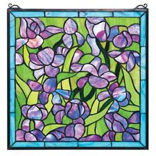 Saint-Remy Irises Stained Glass Window Design Toscano Hand Crafted Art Glass