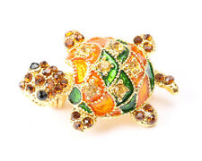 Gold Tone Turtle Brooch with Multi Coloured Rhinestones