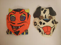Vintage 1960s Halloween Masks lot of 2 Devil Face and Dog