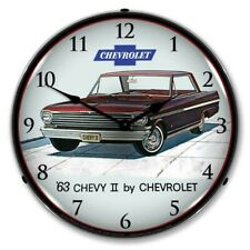 Retro 1963 Chevy Ii Nova Super Sport Led Lighted Backlit Man Cave Wall Clock