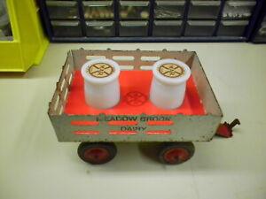 New Insert & 2 Vintage Bottles Pressed Steel Marx Dairy Milk Toy Stake Trailer