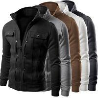 Men Plain Slim Fit Work Military Jacket Stand Collar Coat Top Winter Warm Blazer