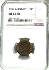 1933 Great Britain 1/4 Penny, Farthing, NGC MS 63 RB