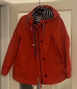Joules Clothing Red Waterproof Ladies Coat/jacket Size 14