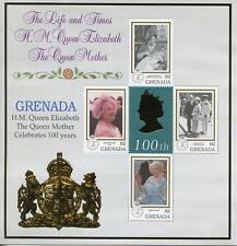 Grenada 1999 MNH Elizabeth Queen Mother 100th Birthday 4v M/S Royalty Stamps
