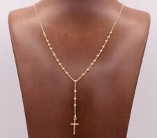2.5mm Rosary Shiny Chain Necklace 14K Yellow Gold Clad Silver Italian 24""