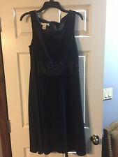NEW BLACK EVAN PICONE COCKTAIL DRESS WITH SATIN WAIST BAND AND JEWELS 14