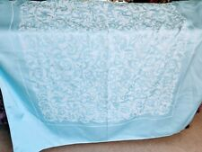 128cm square Pale Blue Damask Tablecloth