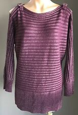 CROSSROADS Purple Berry &Silver Lurex Stripe Cold Shoulder w Buckle Knit Size 14