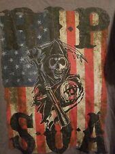 Nwt Sons of Anarchy Logo Vintage Biker Style Tee R.I.P. Skull American Flag Grey