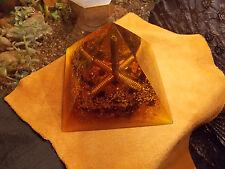 """Orgone Pyramid """"Sri Yantra Wealth Blessing"""" Black Obsidian Quartz Crystals Metal"""