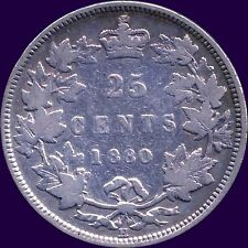 1880 'H' Canada 25 Cent Silver Coin Wide 0 (5.81 Grams .925 Silver)