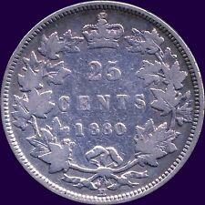 1880 'H' Canada 25 Cent Silver Coin Wide 0 (5.81 Grams .925 Silver)