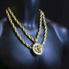 """Colgante chapado en oro con cadena de cuerda de 20 mm y 24 """"de 10 mm"""
