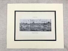 1938 Vintage Japanese Art Print Hokusai River Landscape Oben Surimono Old Japan