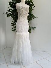 FormalWedding Prom beaded whitesilver feather longdress,s.6-8 like AdriannaPapel