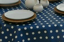 140CM ROUND WIPE CLEAN PVC TABLECLOTH WITH PARASOL HOLE - BLUE & WHITE POLKA DOT