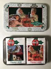 Vintage 1999 Coca Cola Coke Christmas Holiday Tin with 2 Decks of Playing Cards