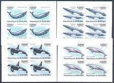 Burundi 2011 Fauna of Sea. Whales, 4 mini sheets. MNH IMPERF.