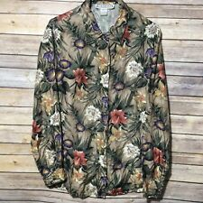 53ae008b DRESS BARN Women's Blouse Size Medium 100% silk floral long sleeve button  front