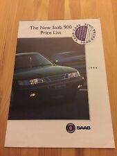 SAAB 900 Price List Brochure, Rare item, 1993 1994, V6 UK Classic Car Collectors