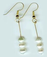 White Pearl Earrings Antique Gems of Roman Royalty Salt Water Pearls 14ktGF