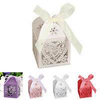 10/50/100Pcs Hollow Love Heart Favor Ribbon Gift Box Candy Boxes Wedding Party