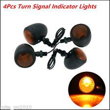 4x Universal Classic Black Metal Motorcycle Turn Signal Indicator Light Lamp