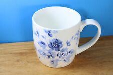 Laura Ashley White Coffee Mug Cup Blue Flowers