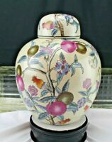 Vintage Chinese Porcelain Ginger Jar PLUM TREE Hand Painted Embossed Relief