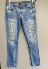 Arizona Skinny Jeans Size 9 Light Wash Blue Embroidered