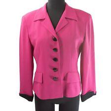 Christian Dior Vintage Fuchsia Pink Black Lined Button Down Blazer Jacket 6