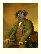 "MASTIFF OLD ENGLISH DRESSED DOG ART PRINT - ""The Squire"" by Thierry Poncelet"