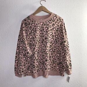 Mighty Fine Women's Heart Leopard Pattern Size XS Blush