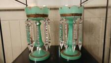 Pair of Stunning Jade Green Mantle Lustres with Spear Prisms C 1880