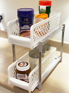 2 TIER KITCHEN CUPBOARD BASKETS, SLIDING PLASTIC BASKET DRAWERS ORGANISER