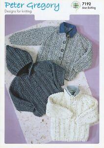Peter Gregory Knitting Pattern 7192 Children's Sweater & Jackets In Aran