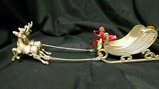 """Large Solid Brass 5 Piece Reindeer And Sleigh Christmas Holidays 14"""" Candy Dish"""